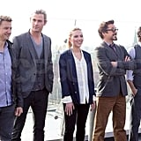 Chris Hemsworth, Jeremy Renner, Scarlett Johansson, Robert Downey Jr., and Mark Ruffalo got together for a photo.