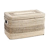 Natural Seagrass Striped Trunk With Lid