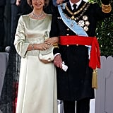 Queen Sofía in a Cream Gown, May 2004