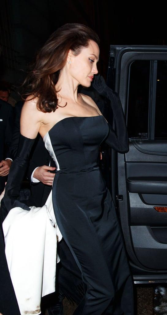 Angelina Jolie Black Dress With Gloves Popsugar Fashion Photo 4