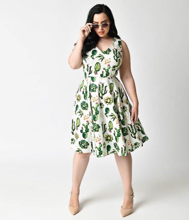 Unique Vintage Plus Size 1950s Style White & Green Cactus ...