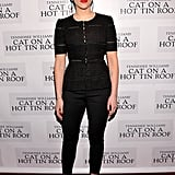 We can always count on Scarlett Johansson to exude her signature brand of sexiness, but we totally appreciate the subdued sophistication of these formfitting Dolce & Gabbana top and trousers. To finish, she added classic black pumps, turquoise Irene Neuwirth earrings, and a red lip.