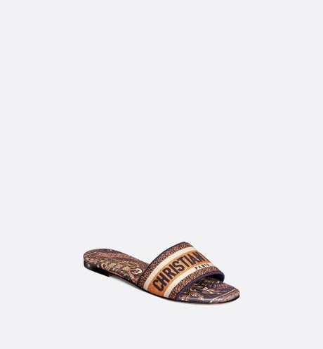 Dior Deep Blue and Ochre Embroidered Cotton Slide