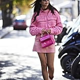 Sara Sampaio Was Pretty in Pink in an Isabel Marant Sweater and PVC Skirt