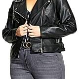 City Chic Lace-Up Sides Faux Leather Biker Jacket