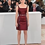 Emma was right on-trend in a deep red Christopher Kane crop top and miniskirt at The Bling Ring photocall in Cannes.