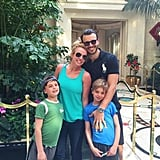 "In February 2015, Britney shared this picture of her boys and then-boyfriend Charlie Ebersol on Twitter, writing, ""Nothing better than family lunches in Vegas!"""