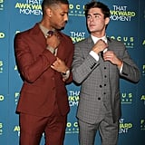 He and Zac Efron straightened their ties at the NYC screening of That Awkward Moment in January 2014.