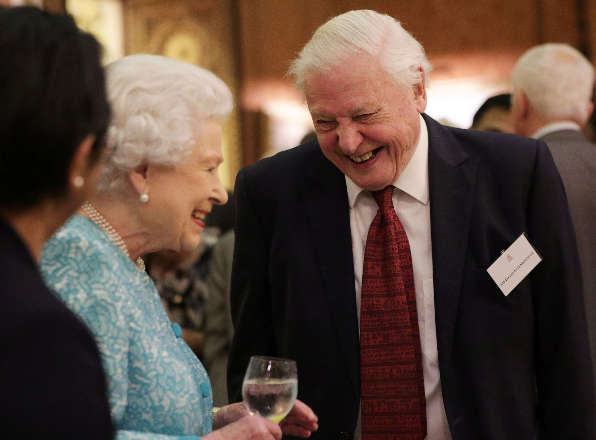 Britain's Queen Elizabeth II (L) reacts as she talks with television presenter David Attenborough during an event at Buckingham Palace in central London on November 15, 2016, to showcase forestry projects that have been dedicated to the new conservation initiative - The Queen's Commonwealth Canopy