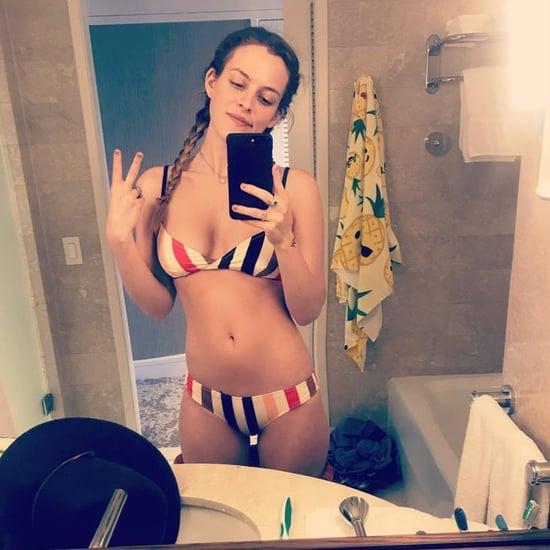 Riley Keough Solid and Striped Bikini