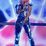 Nicki Minaj rocked a metallic wardrobe for a 2011 performance.