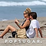 Kate Hudson and Matthew Bellamy shared kisses and cuddles on a Malibu beach in March 2014.
