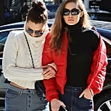 Bella Wore Gigi's Tommy Hilfiger x Gigi Cable-Knit Turtleneck . . .