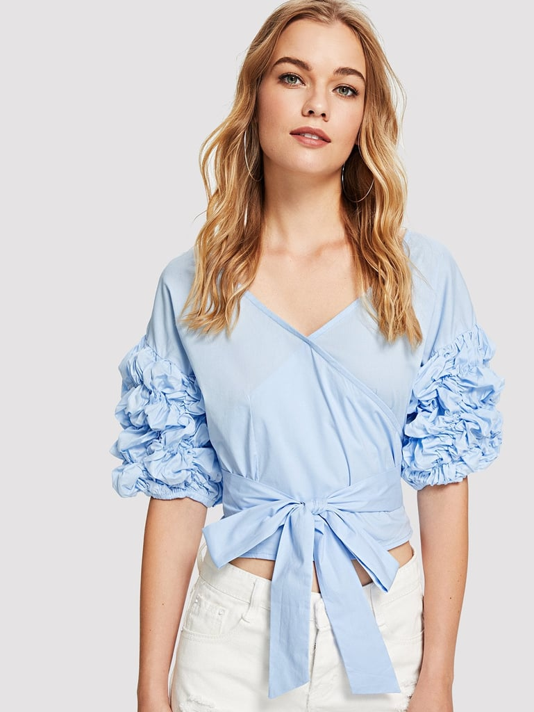 1c2e717682 Shein Petal Applique Belted Top | Crop Top Outfit Idea 2019 ...