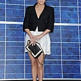 Jennifer Lopez posed at the photocall for Chanel at Paris Fashion Week.
