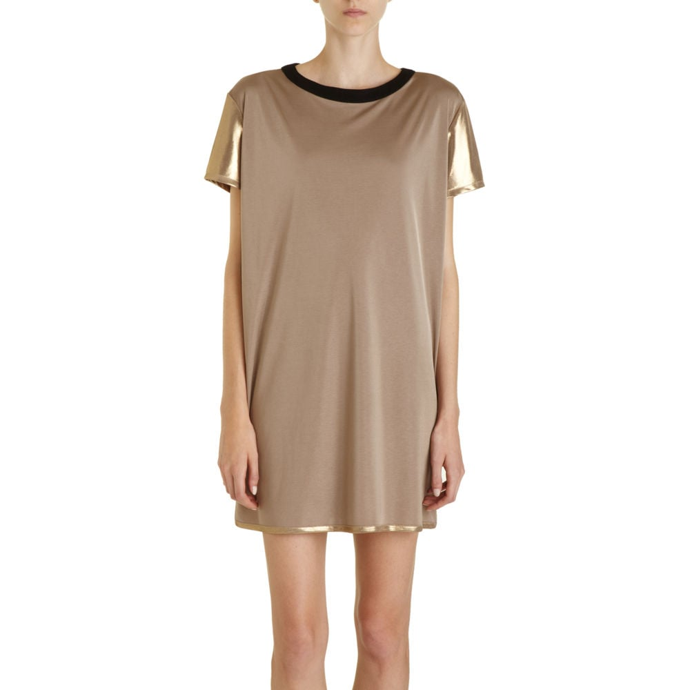 Instead of going full throttle with your gilded style, try a shiny gold sleeve accent instead. 10 Crosby Metallic Sleeve Dress ($325)