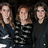 With her mom and sister at the launch of London hotel The Ned in 2017.