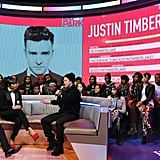 Justin Timberlake answered questions with Bow Wow and Kimberly Walker on the set of BET's 106 and Park.
