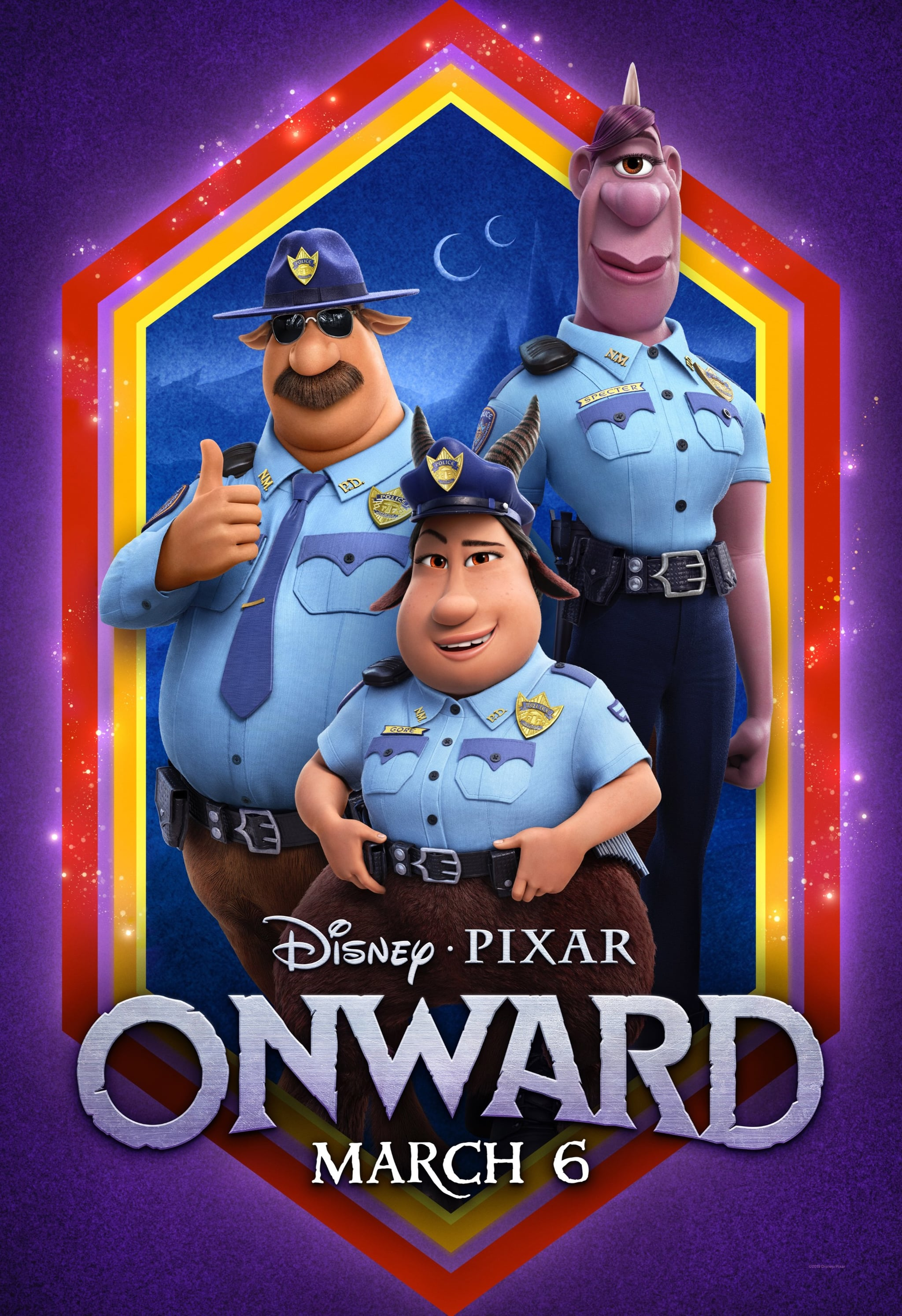 ONWARD, US character poster, clockwise from left: Colt Bronco (voice: Mel Rodriguez), Specter (voice: Lena Waithe), Gore (voice: Ali Wong), 2020.  Walt Disney Studios Motion Pictures / courtesy Everett Collection