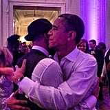 Swizz Beatz gave Barack Obama a hug during The Inaugural Ball on Monday night. Source: Instagram user therealswizzz
