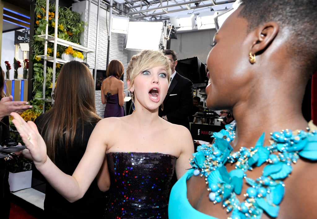 Jennifer Lawrence couldn't contain her excitement when she ran into Lupita Nyong'o on the red carpet at the SAG Awards in LA on Saturday night. Both ladies were nominated in the outstanding supporting actress category, and despite going head to head at the show, they shared a sweet moment on the red carpet. Lupita ended up taking home the win as she continued her award season hot streak. If you don't already love her, you have to get to know Lupita, and we're sure you'll be on board like Jennifer clearly is!