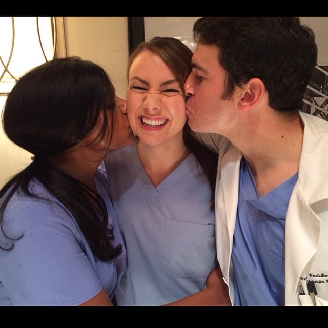 Mindy Kaling and Chris Messina smooched The Mindy Project writer Tracey Wigfield on set. Source: Instagram user mindykaling