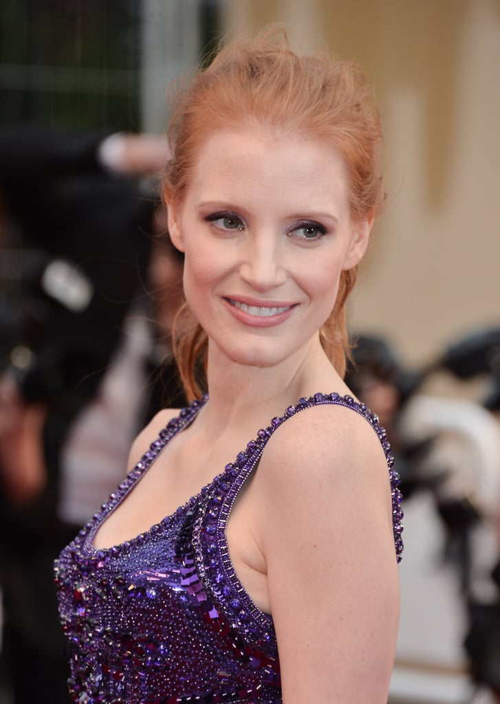 For her night out on the All Is Lost red carpet, Jessica Chastain went for a tousled ponytail with natural makeup that played up her eyes.