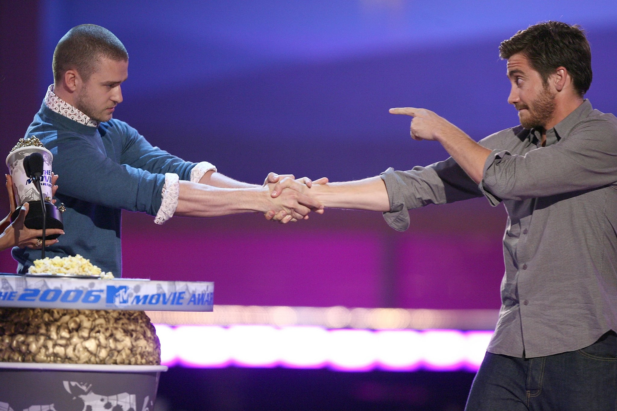 Jake shared a cute onstage moment with Justin Timberlake as he presented Jake the best kiss award for his role in Brokeback Mountain at the 2006 MTV Movie Awards.