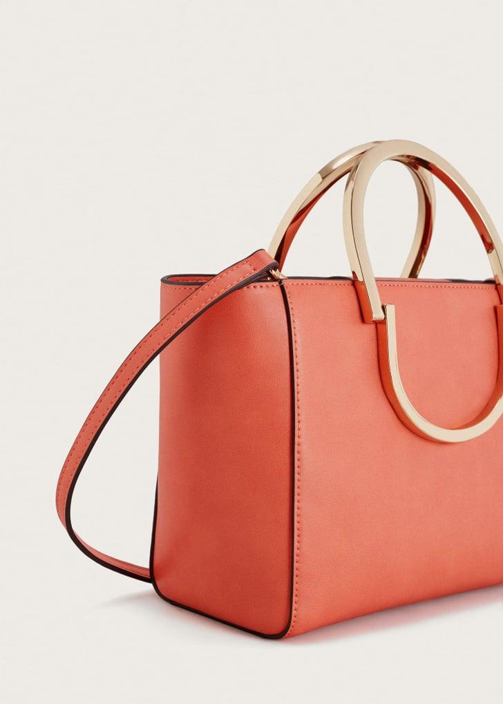 Violeta By Mango Metallic Handle Tote Bag Bag Trends For