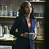 Olivia balanced a splashy top with a solid blazer.
