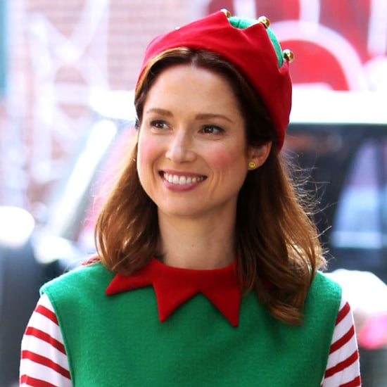 Ellie Kemper as an Elf on the Unbreakable Kimmy Schmidt Set