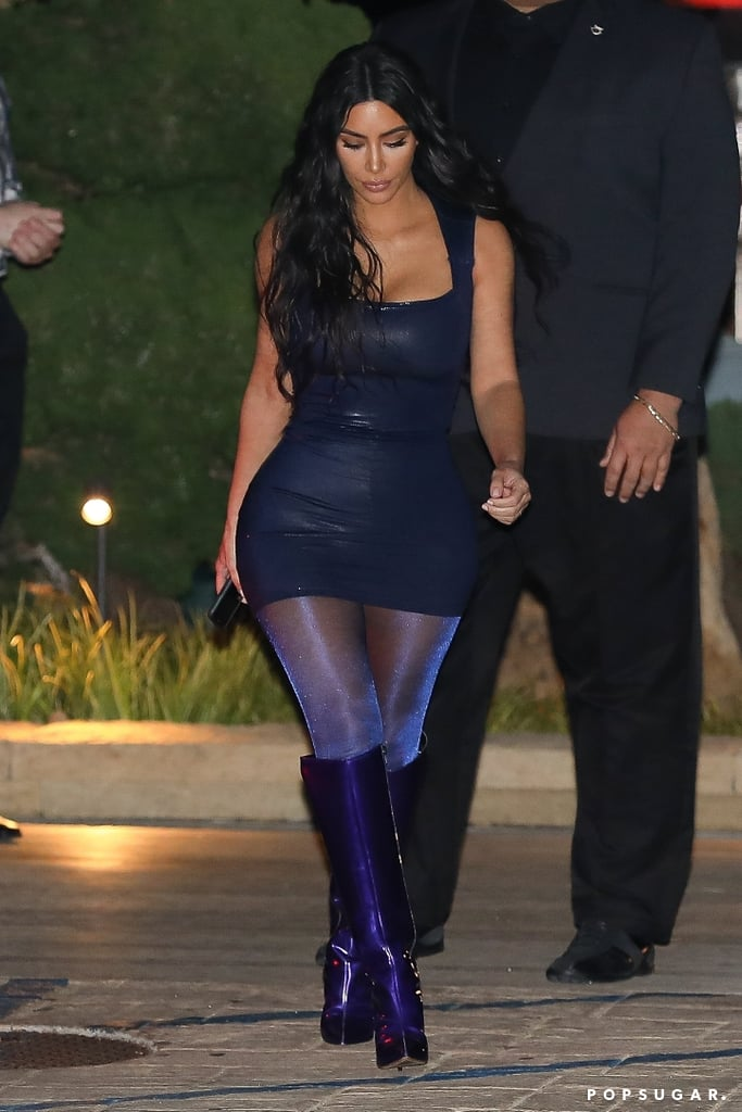 Would You Wear Kim's Glitter Tights and Iridescent Boots?