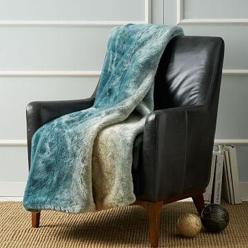 Turquoise Dip-Dyed Faux Fur Throw