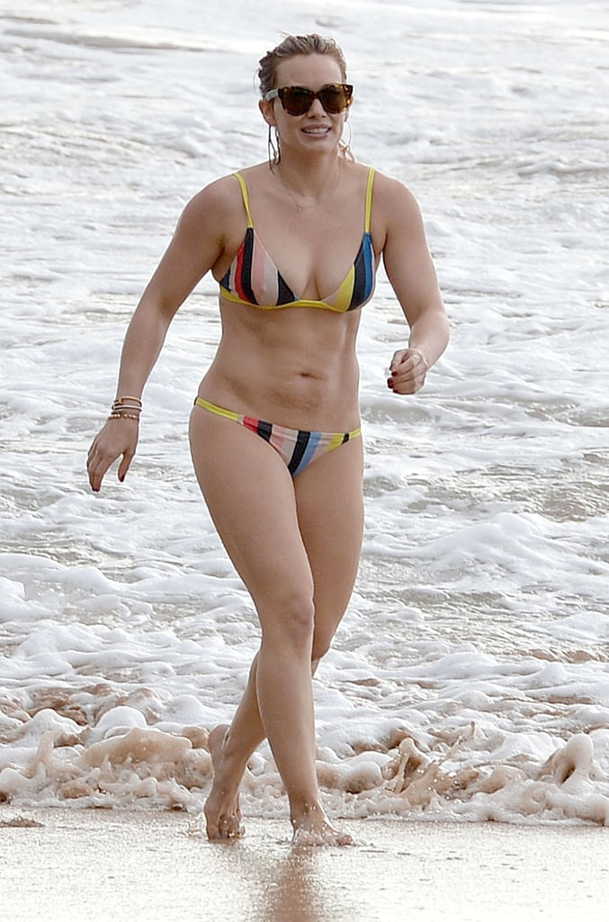 Hilary Duff showed off her killer abs on the beach in Hawaii in 2016.