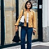 Wear Dark-Wash Denim With Metallic PVC Wedges and a Leather Jacket