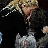 Shakira kissed Barcelona player Gerard Piqué during the La Liga match in Barcelona in April 2011.