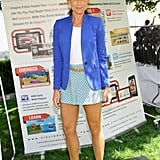 Minnie Driver's layered look was fresh for a sunny day in Beverly Hills. She matched printed shorts with a blue Vince Camuto blazer, then finished with a cool Panama hat.