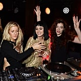 Ellie Goulding, Katy Perry and Lorde took over the turntables at Universal Music's Brit Awards after-party.