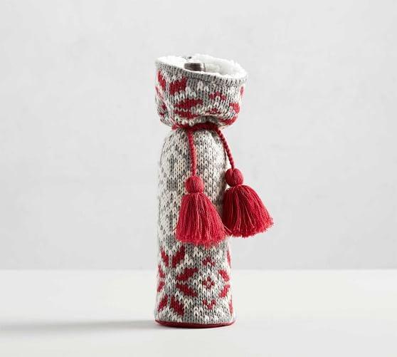 Fair Isle Knit Wine Bag