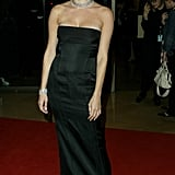 In sleek, black, and strapless on the red carpet in '03.