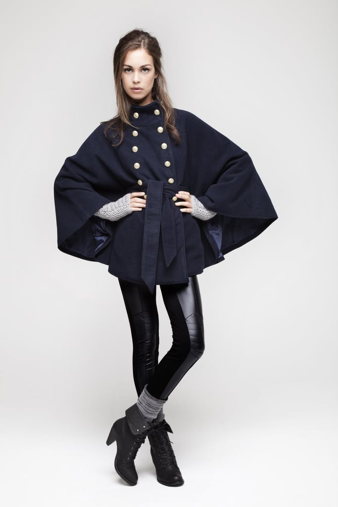 I love this navy military cape (£25) which has been styled with some wet look legging (£7).