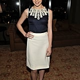 Pretty in navy and white at an event last month.