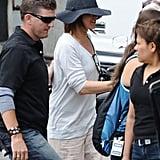 Jennifer Aniston Spends a Shady Day on Set