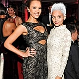 Jessica Alba caught up with good friend Nicole Richie inside the Met Gala dinner.  Source: Billy Farrell/BFANYC.com