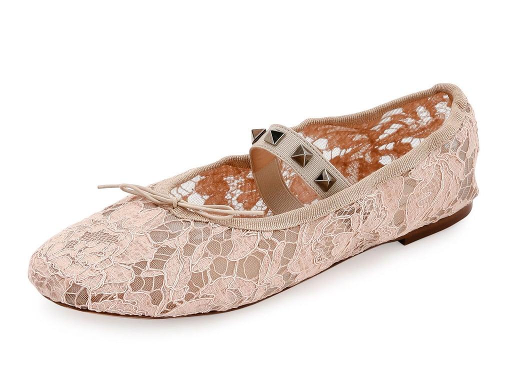 382189e6c099 Valentino Garavani Rockstud Ballet Leather Ballerina Flats