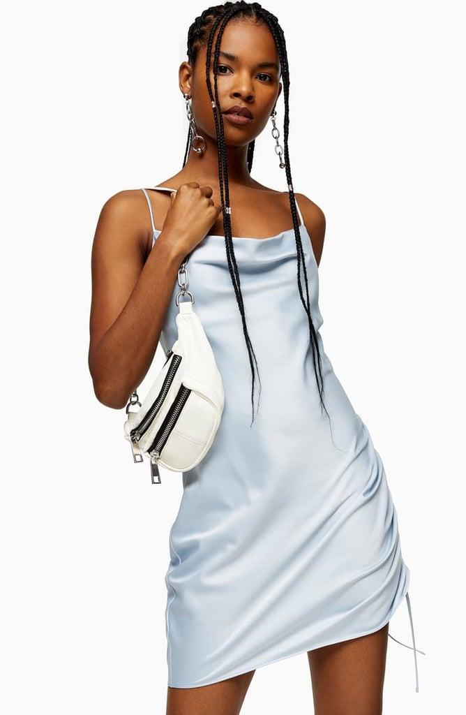 Topshop Ruched Satin Mini Slip Dress