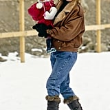 Sarah — wearing a '90s-cool Winter look — carried Beatrice through the snow while vacationing in Switzerland in 1990.