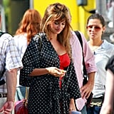 Penelope Cruz covered up with a polka-dot robe.