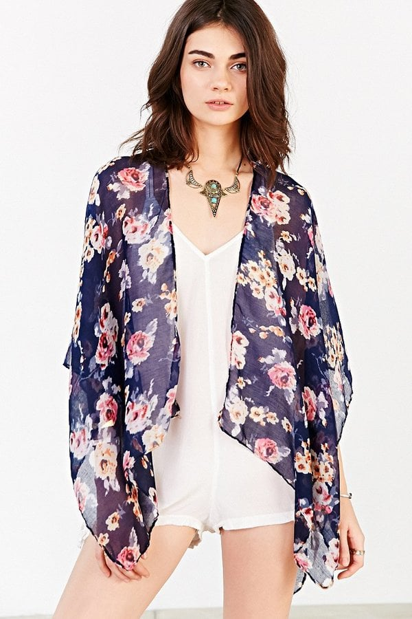 Urban Outfitters Rose Garden Lightweight Open Poncho