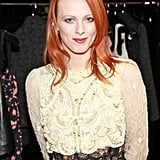 Karen Elson in lace on Fashion's Night Out.